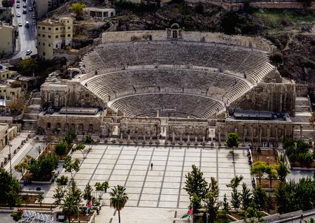 Théâtre romain et la place hachémite, portrait, Amman, gouvernorat d'Amman, Jordanie