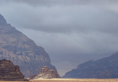 Landscape of Wadi Rum during stormy day, Aqaba Governorate, Jordan