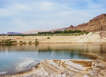 Salt Formations on the shore of the Dead Sea, Karak Governorate, Jordan Imagens