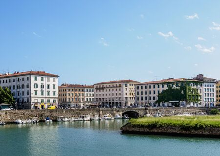 Canal in Venezia Nuova, Livorno, Tuscany, Italy Stockfoto