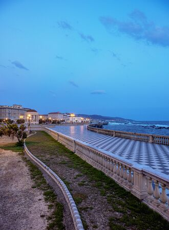 Terrazza Mascagni at dusk, Livorno, Tuscany, Italy Stok Fotoğraf