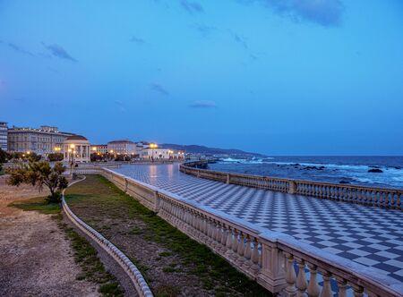 Terrazza Mascagni at dusk, Livorno, Tuscany, Italy 스톡 콘텐츠