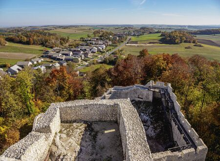 Pilcza Castle Ruins in Smolen, elevated view, Trail of the Eagles Nests, Krakow-Czestochowa Upland or Polish Jurassic Highland, Silesian Voivodeship, Poland