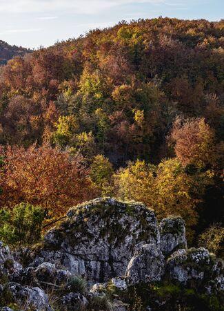 Autumn in Pradnik River Valley, Pieskowa Skala, Krakow-Czestochowa Upland or Polish Jurassic Highland, Lesser Poland Voivodeship, Poland Stock fotó