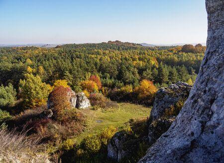 Landscape seen from Okiennik Wielki, window rock, Piaseczno, Krakow-Czestochowa Upland or Polish Jurassic Highland, Silesian Voivodeship, Poland