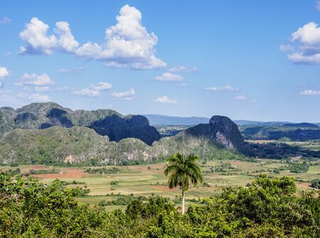 Vinales Valley, landscape from Los Acuaticos Mount, Pinar del Rio Province, Cuba
