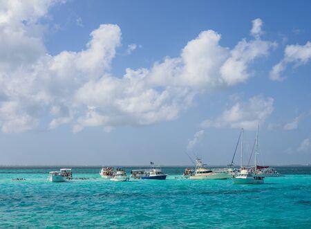 Boats at Stingray City, Grand Cayman, Cayman Islands