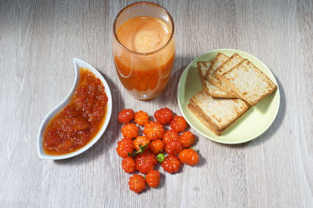natural breakfast with juice and cookies