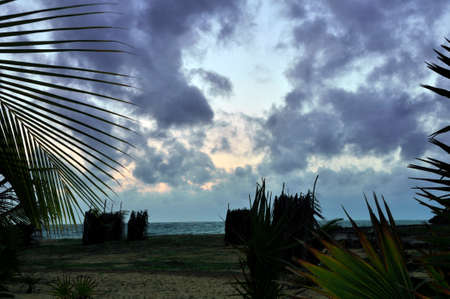 Cloudy skies on Kalpitiya peninsula. Black storm clouds in this sky over the Indian Ocean off the North Western coast of Sri Lanka