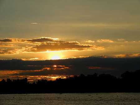 Sunset.  Lots of colour here in this sky over the river Mekong in Vietnam