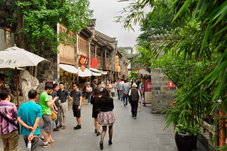 Chinese street scene. A busy street scene in this historical and cultural area of Cheng Du, China