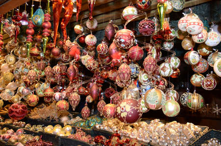 Christmas Market products, Vienna. Arts and crafts, and some food products, for sale on a market during the winter period leading up to Christmas Stock Photo - 110240078