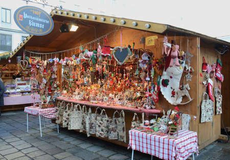 Christmas Market stalls, Vienna, Austria. A European tradition, operates during the winter period leading up to Christmas
