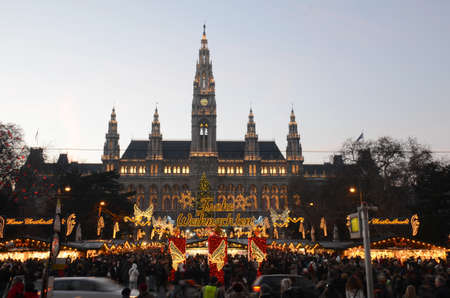 Christmas Market, Vienna, Austria. Constructed around the Rathaus (Town Hall) this market, a European tradition, operates during the winter period leading up to Christmas
