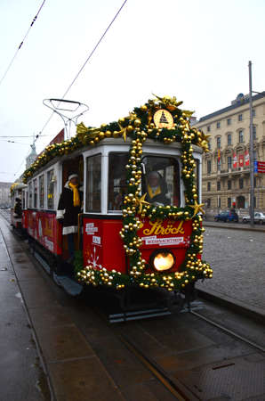 Decorated Tram, Vienna, Austria. All dressed up for Christmas, this tram tours the city with Santa on board, Vienna, Austria Editorial