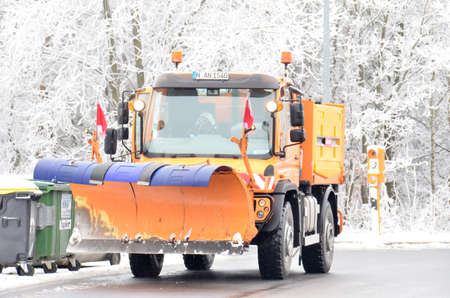 Snow plough. Keeping the highways clear of snow is the job for this specialised machine, Germany