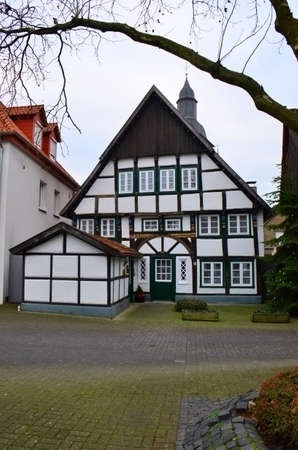German style buildings, some constructed with large visible beams, date back many centuries, Germany