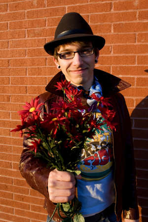 cool guy: Cool guy with flowers Stock Photo
