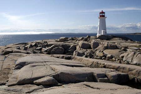 Nova Scotia: Peggys Cove Lighthouse Stock Photo