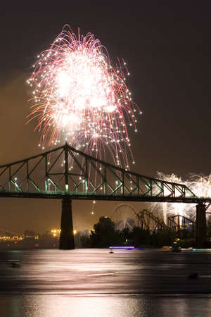 Fireworks Exhibition with bridge photo