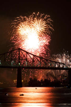 montreal: Fireworks Exhibition with bridge Stock Photo