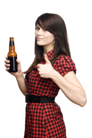 beer drinking: Young girl giving a thumbs up holding a beer