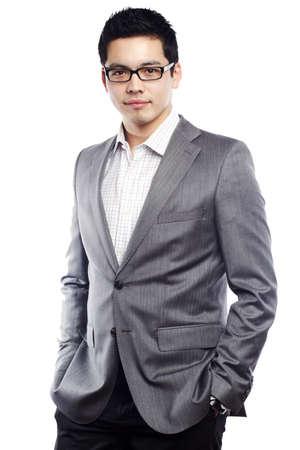 Asian male model: Người đàn ông trẻ châu Á tìm kiếm tự tin trong trang phục kinh doanh Kho ảnh