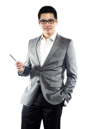 business wear: Young asian man in business attire holding pen teaching something