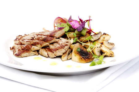 Lamb filet mignon with onions and mushrooms on white plate Stock Photo - 10541741