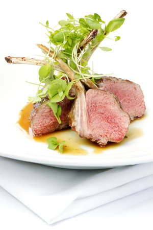 Classic lamb chops plate served french style photo