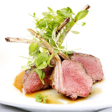 rack of lamb: Classic lamb chops plate served french style