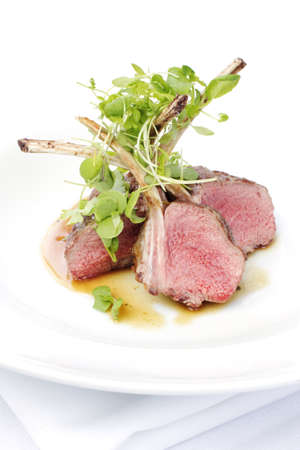 mutton chops: Classic lamb chops plate served french style
