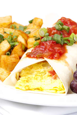 browns: South western omelette in wrap with salsa on top