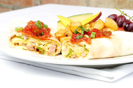 omelette: South western omelette in wrap with salsa on top