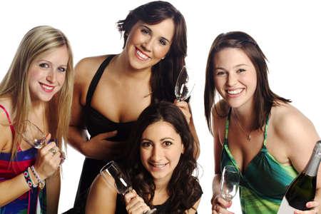 Excited group of women celebrating isolated background  photo