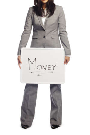 Unemployed business woman suffering due to recession holding a billboard with money written on it over white background - Vertical composition photo