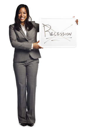 message: Confident asian business woman displaying sign - Recession no longer in effect