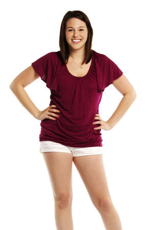 Portrait of a happy young woman with arms on hips standing on white background  photo