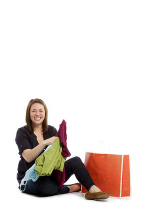 Portrait of lovely woman with shopping bag over white bacground  Stock Photo - 12832188