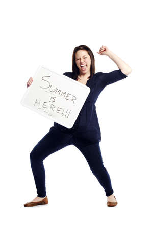 signboard: Portrait of excited young woman holding billboard Isolated over white background