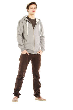 cool guy: Young handsome serious man with hip style against white background