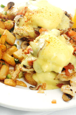 hashbrowns: Chicken mushroom and tomato eggs benedict with chicken