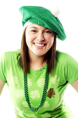 Irish young lady dressed for a st patricks day celebration photo