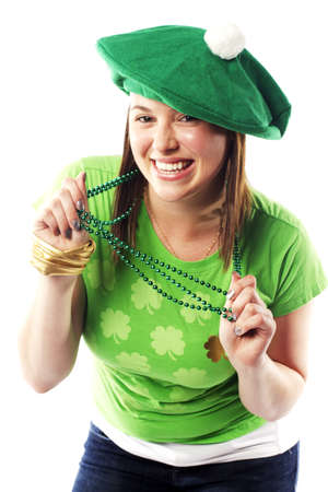Irish young lady dressed for a st patricks day celebration Stock Photo - 15599478