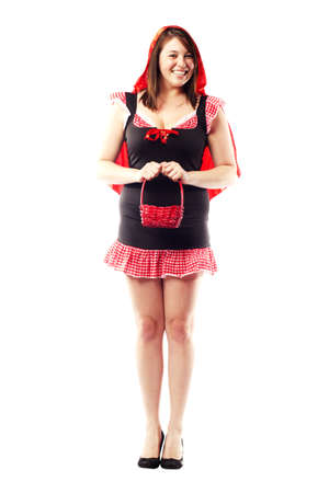 Girl in red riding hood costume for halloween photo