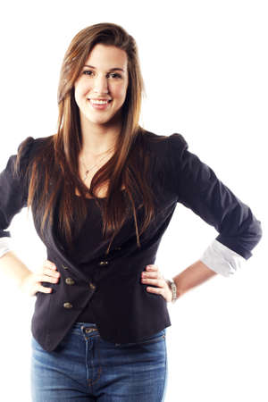 Portrait of beautiful young woman wearing blazer photo