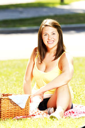 pic nic: Girl having a pic nic in a park