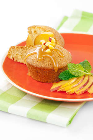 caked: Fresh peach caked shaped as cupcake