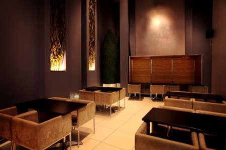 Fine dining sushi restaurant interior, Laval, Quebec, Canada Stock Photo