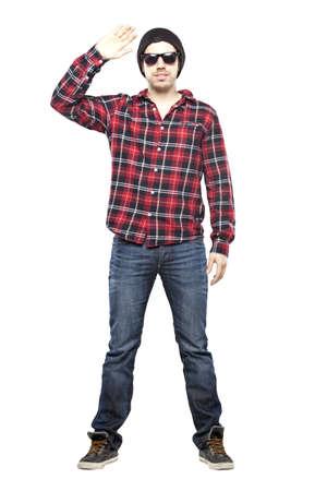 hombre flaco: Hombre inconformista en camisa a cuadros sonriendo para la c�mara